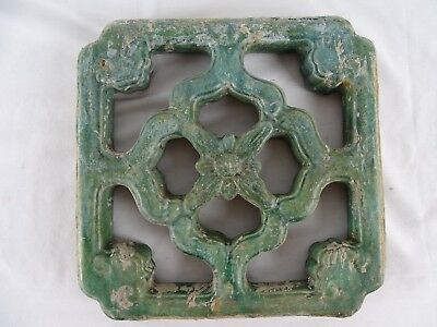 RARE Antique 19thC Qing Dynasty Chinese Jade Green Temple Breezeway Tile