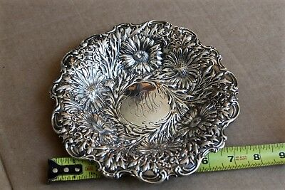 Sterling Silver Bowl. Daisy Flowers. 7 1/2 Inch Scrap Or Not 4 Troy Ounce Biddle