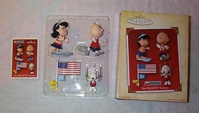 Hallmark 2004 THE PEANUTS GAMES Snoopy Lucy Woodstock Charlie Brown 4 Ornaments