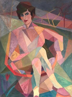 Huge 1960's French Cubist Oil - Portrait Of Seated Lady - Stunning Oil Painting