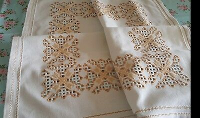 vintage thick  hand LEFKARA  embroidered tablecloth gold embroidery XMAS cloth