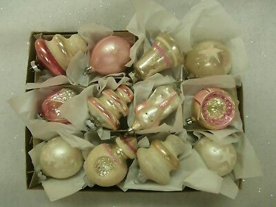 12  Vtg  Antique Pale Pink & Frosty White Mercury Glass Xmas Ornaments Indents
