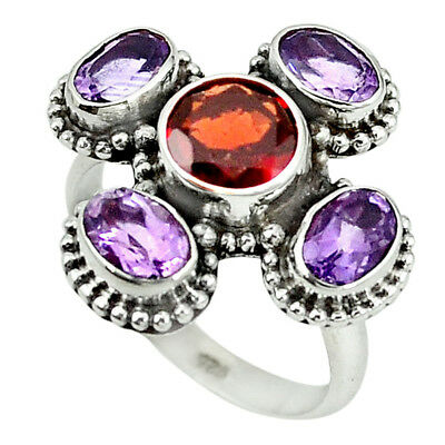 Natural Red Garnet Amethyst 925 Sterling Silver Ring Jewelry Size 9 M9876