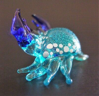 Miniature Glass Sea CRAB Tiny Pretty Glittered Glass Animal Glass Ornament Gift