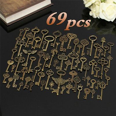 Set of 69Antique Vintage Old Look Bronze Skeleton Keys Fancy Heart Bow Pendant-c