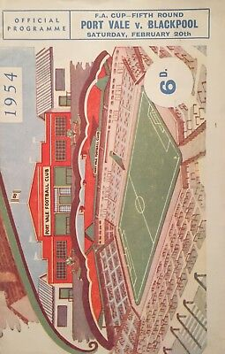 Port Vale v Blackpool  F A Cup  1953/54