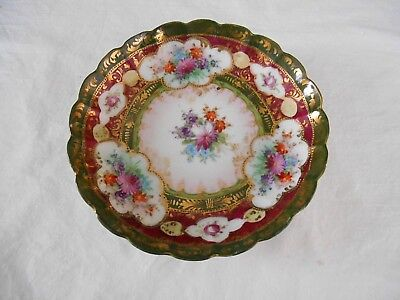 Beautiful NIPPON Hand Painted LOW BOWL DISH - Green Gold Maroon FLOWER SPRAYS