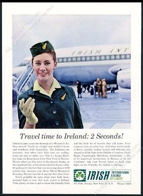 1963 Aer Lingus stewardess plane color photo vintage print ad