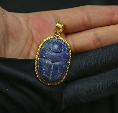 Vintage Egyptian Scarab Beetle Lapis Lazuli Blue Natural Stone Pendant Necklace