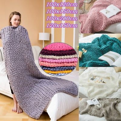 Soft Chunky Knitted Thick Blanket Hand Yarn Wool Bulky Bed Large Sofa Blanket