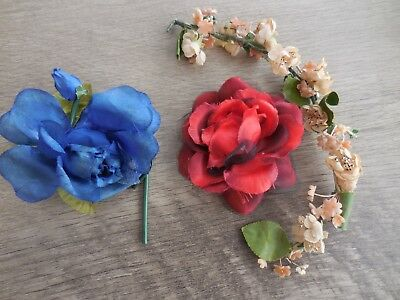 3 Vintage Millinery Flowers Red Rose Hair Clip Blue Rose Pin Pink Hair Spray