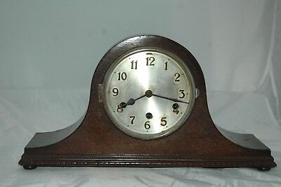 Antique Drp Westminster Chimes Oak Case Mantle Clock With Pendulum.