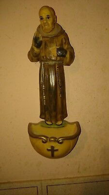 ? St Francis Of Assisi / Monk Christian Catholic Holy Water Font Hand Painted