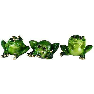 See, Speak, Hear No Evil Set of 3 Green Frogs Resin New In Box!