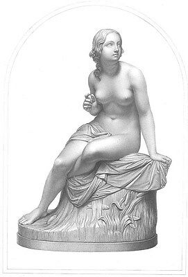 NAKED NUDE GIRL WOMAN Breasts RIVER SEVERN SABRINA, Old 1849 Art Print Engraving