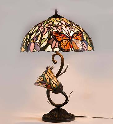 """Tiffany Style Stained Glass Butterfly Lamp, 16"""" dia. x 24"""" H NO TAX"""