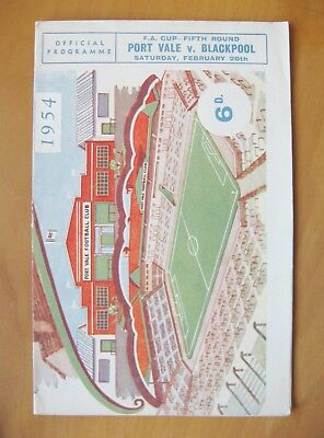 PORT VALE v BLACKPOOL FA Cup 1953/1954 *Excellent Condition Football Programme*