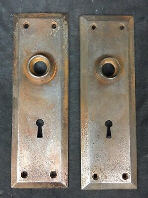 Matching Set Of 2 Vintage Antique Door Knob Backplate Plate Covers