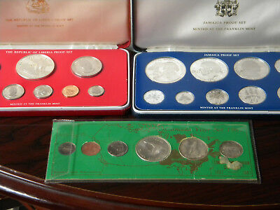 2 proof set silver 1 mint set silver jamaica,liberia,canada w