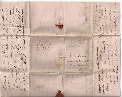 ca. Early 1800s Harrisburg, PA Stampless Folded Letter