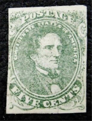 nystamps US CSA Confederate Stamp # 1 Mint OG H $275