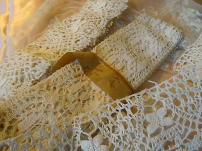 Two Long Lengths Antique Unused Cluny Lace C.1910