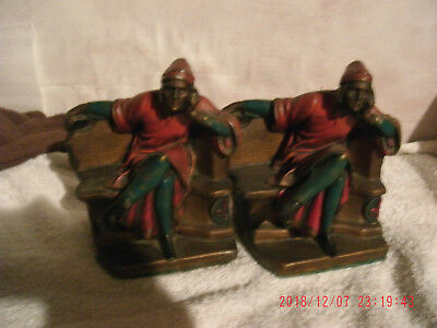 Antique Pair Colored Red Green Bookends Mantarani's Dante