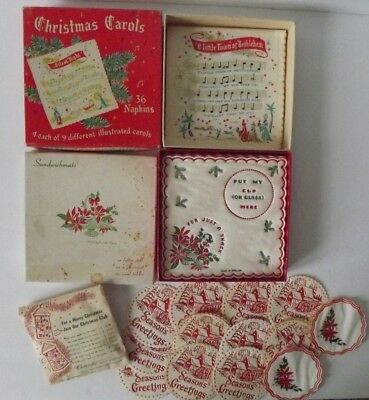 Vtg Mixed Lot Of Paper Quilted Christmas Napkins Coasters Poinsettias Carols &