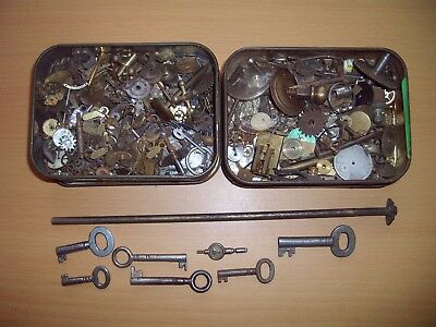 2 Tins Of Watch & Clock Movement Parts + Collection Of Keys - Great Selection!