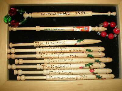 9 Lace bobbins, wooden, commemorating Christmas. Various dates