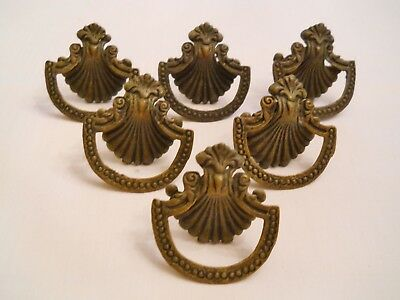 6 ANTIQUE BRASS SHELL DRAWER PULLS - Good Condition