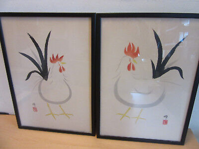 2 Vintage Chinese Original Watercolor Paintings SIGNED Framed ROOSTER Chicken