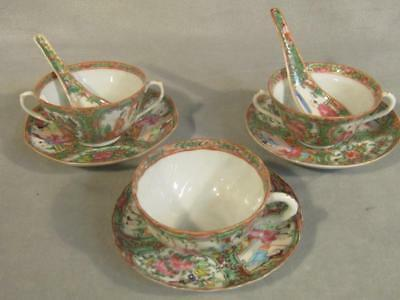 Lot Assorted Antique Chinese Rose Medallion Cups & Saucers & Spoons