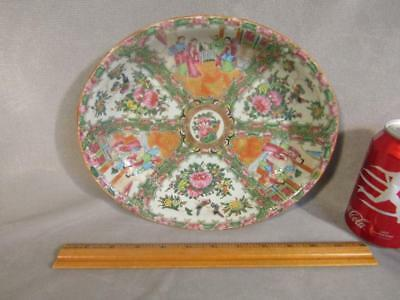 """Antique Chinese Export Rose Medallion Oval Serving Bowl 10"""""""