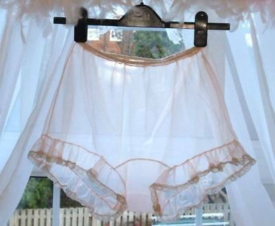 Vintage See Through Nylon Lacy Wide Gusset Bubble Knickers Panties W  [Y3