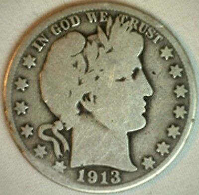 1913 S Barber Silver Half Dollar 50 Cent US Type Coin Good K