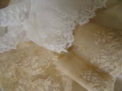 Two Beautiful Long Lengths Antique victorian Bridal Lace C.1900