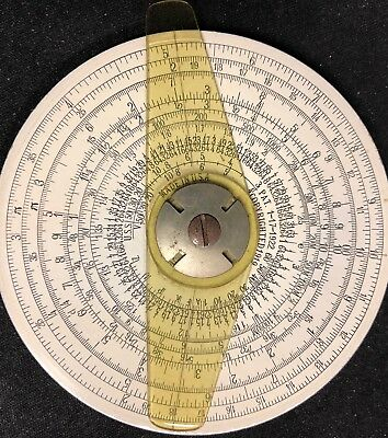 """Vintage Circular Slide Rule, Copyrighted 1919, 1922, 1931 Made in USA 4"""" Dia."""