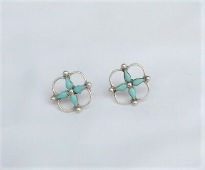 Lovely Vintage Pair of Turquoise and Sterling Zuni Earrings-PRICE REDUCED