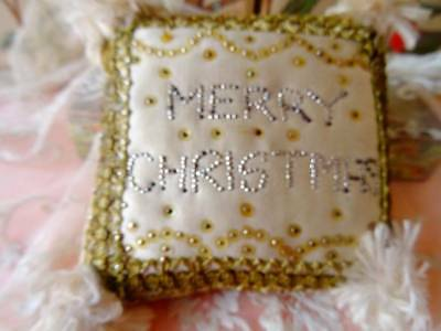 An Exquisite Antique Victorian Pin Cushion ~ Merry Christmas (B)