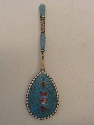 Antique Russian silver 84 cloisonne enamel spoon by Gustav Klingert