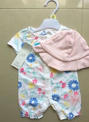F&F Baby Girl's Short Sleeved/Legged Romper with Sun Hat up to 1 Month  BNWT