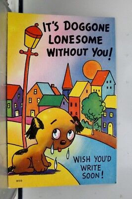 Comic Cartoon Doggone Lonesome Without You Postcard Old Vintage Card View Post