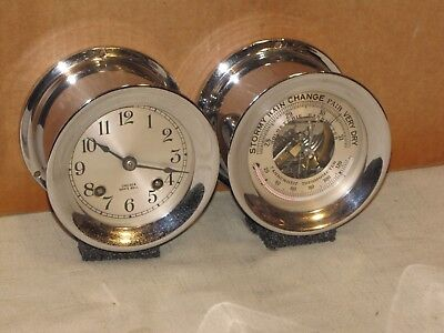 Chelsea Vintage Ships Bell Clock & Barometer/thermometer~Nickel~1940~Restored