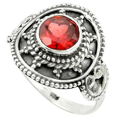 Natural Red Garnet 925 Sterling Silver Ring Jewelry Size 7.5 M56334