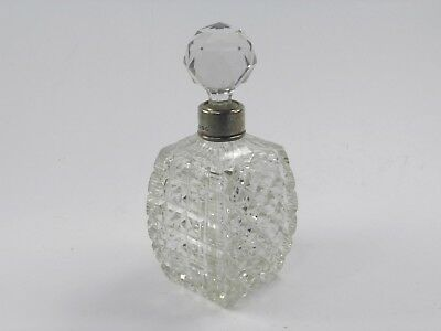 Antique 19th century .925 sterling silver & cut glass perfume scent bottle 1886