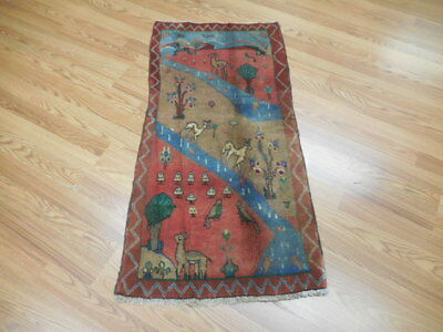 Ca1930s VEG DY ANTIQUE GOM QUOM HUNTING 2x3.10 ESTATE SALE  RUG