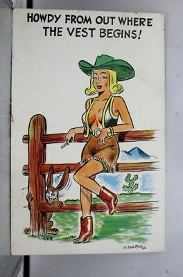 Comic Cartoon Bob Petley Out Where the West Begins Postcard Old Vintage Card PC