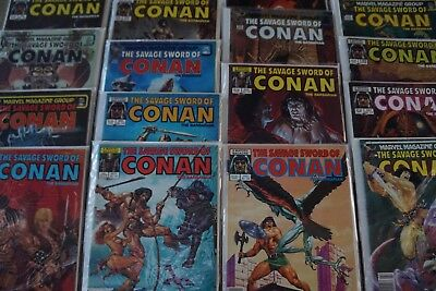 SAVAGE SWORD CONAN lot of 23 Marvel Comic Books in Individual Bag /Board