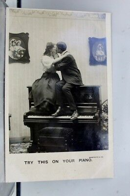 Comic Cartoon Try This on Your Piano Postcard Old Vintage Card View Standard PC
